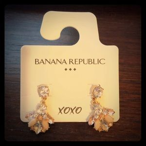 Banana Republic Crystal and Peach/Pink Earrings